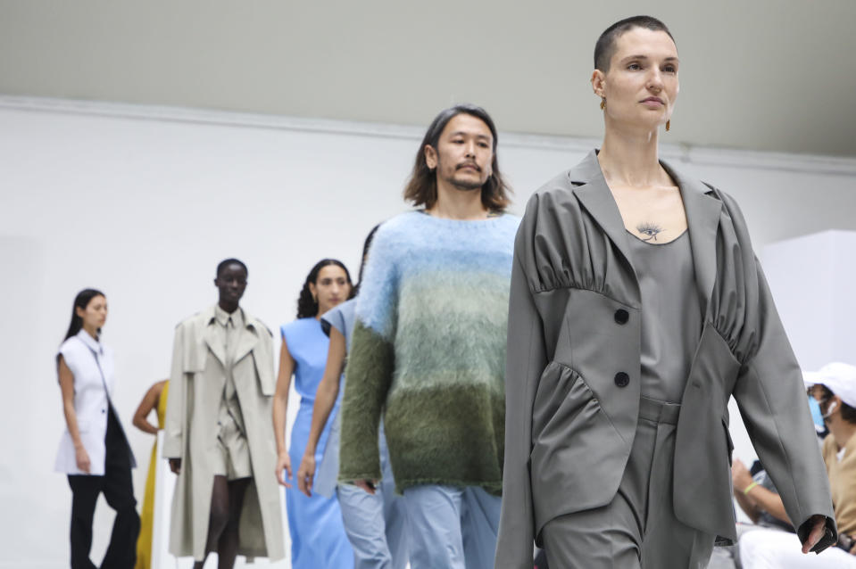 Models wear creations for the Gauchere Spring-Summer 2021 fashion collection, Wednesday, Sept. 30, 2020, during Paris fashion week. (Photo by Vianney Le Caer/Invision/AP)