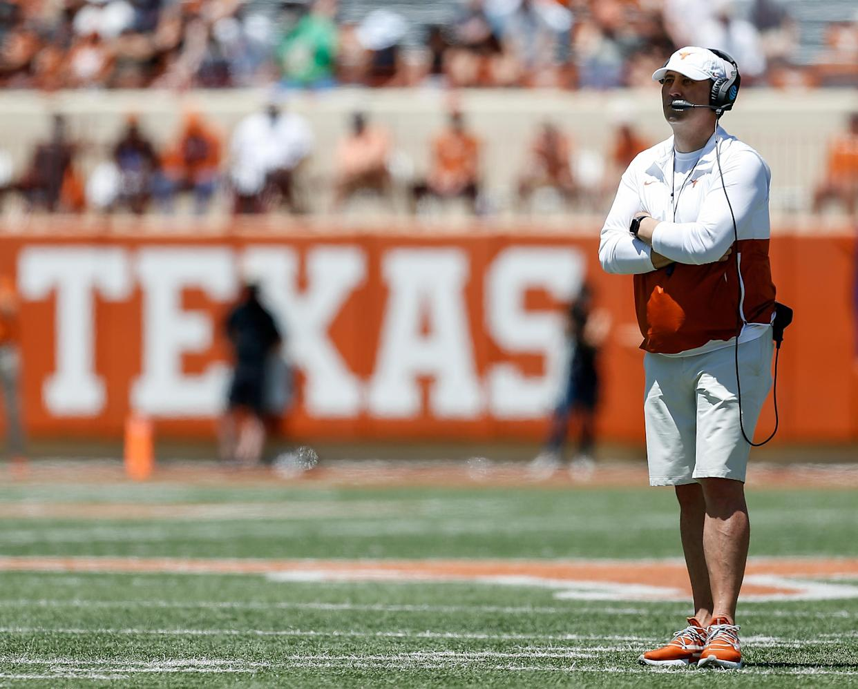 AUSTIN, TEXAS - APRIL 24: Head coach Steve Sarkisian of the Texas Longhorns reacts during the Texas Football Orange-White Spring Game at Darrell K Royal-Texas Memorial Stadium on April 24, 2021 in Austin, Texas. (Photo by Tim Warner/Getty Images)