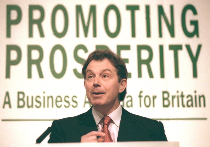 Labour leader Tony Blair speaks in London at the launch of Promoting Prosperity, a report on the way ahead for business, January 21, 1997. Blair is due to keep up the pressure on the government, building on tough pledges to hold down tax and spending with the claim that Britain's new business generation is backing him. REUTERS/Russell Boyce