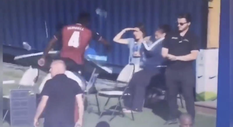 Valour FC's Jordan Murrell kicks table. (Twitter//@CanPLBrasil)