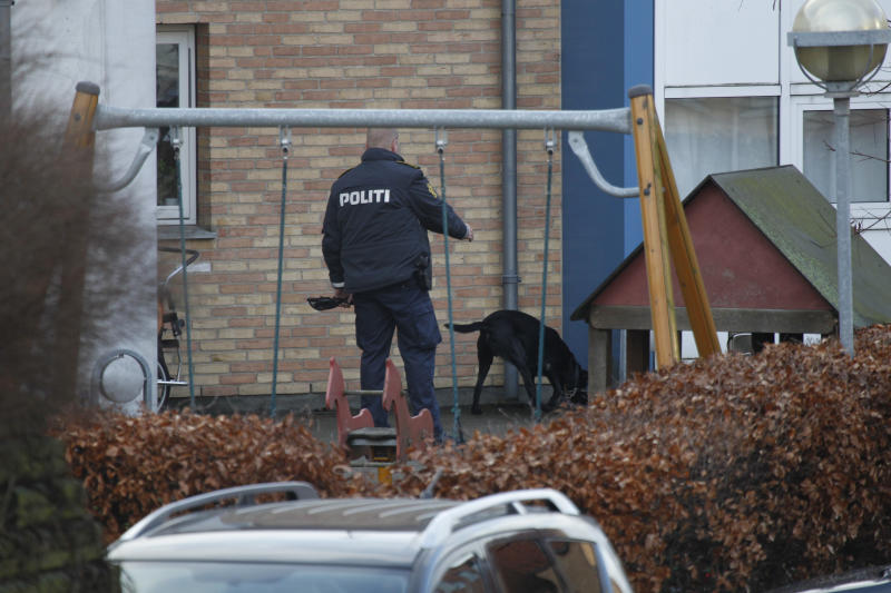 Danish police search the scene after a shooting incident, Tuesday, Feb. 5, 2013, in Copenhagen, Denmark. The Danish writer and prominent Islam critic, Lars Hedegaard, survived an attempted assassination Tuesday at his home in Copenhagen, the advocacy group Danish Free Press Society, that he heads said Tuesday. No injuries are reported. (AP Photo/Jens Dresling, POLFOTO) DENMARK OUT
