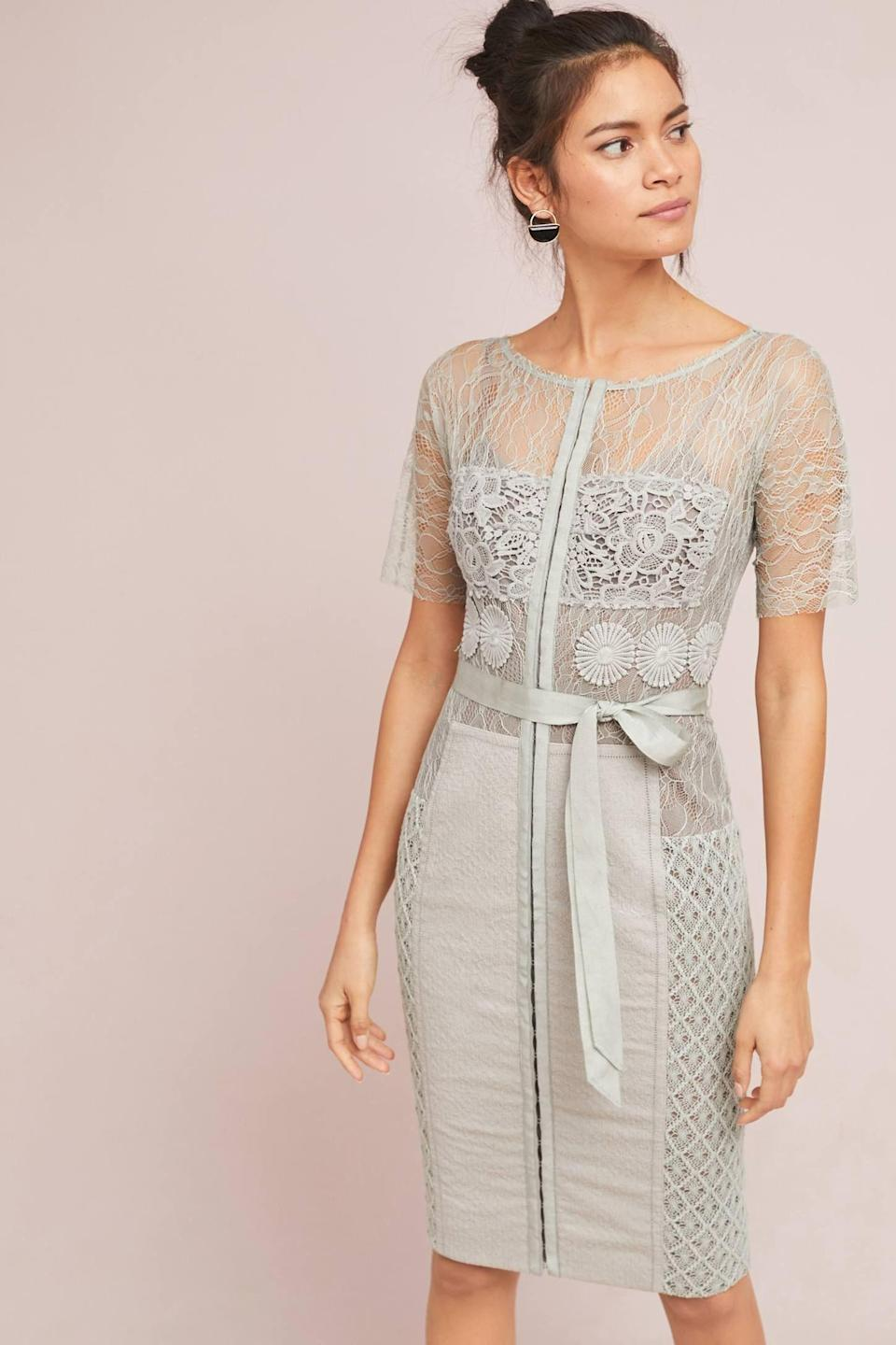 """<p><strong>Byron Lars</strong></p><p>anthropologie.com</p><p><strong>$258.00</strong></p><p><a href=""""https://go.redirectingat.com?id=74968X1596630&url=https%3A%2F%2Fwww.anthropologie.com%2Fshop%2Fbyron-lars-carissima-sheath-dress4&sref=https%3A%2F%2Fwww.townandcountrymag.com%2Fstyle%2Ffashion-trends%2Fg12096491%2Fbest-fall-wedding-guest-dresses%2F"""" rel=""""nofollow noopener"""" target=""""_blank"""" data-ylk=""""slk:Shop Now"""" class=""""link rapid-noclick-resp"""">Shop Now</a></p><p>Take your summery love of lace into the cool weather with a seasonless grey.</p>"""