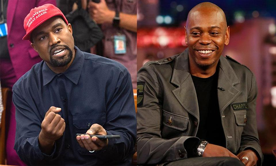 Kanye West, sporting his MAGA hat, and Dave Chapelle. (Photos: Getty Images)