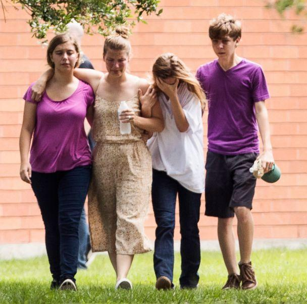 PHOTO: Students gather by the Barnett Intermediate School where parents are gathering to pick up their children following a shooting at Santa Fe High School, May 18, 2018, in Santa Fe, Texas. (Marie D. De Jesus/Houston Chronicle via AP)