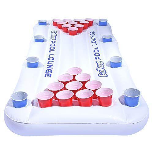 """<p><strong>GoPong</strong></p><p>amazon.com</p><p><strong>$29.99</strong></p><p><a href=""""https://www.amazon.com/dp/B00HIWL37M?tag=syn-yahoo-20&ascsubtag=%5Bartid%7C2139.g.36532067%5Bsrc%7Cyahoo-us"""" rel=""""nofollow noopener"""" target=""""_blank"""" data-ylk=""""slk:BUY IT HERE"""" class=""""link rapid-noclick-resp"""">BUY IT HERE</a></p><p>Indulging in a game of beer pong is always a good call—so why not take it to the pool? This 6-foot inflatable table has everything you need to create a complete game, including four cup holders along each side for the viewing party.</p>"""