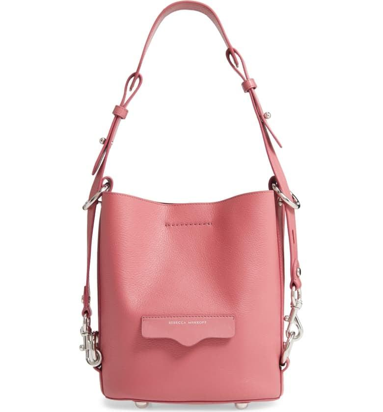 """<p>This gorgeous <a href=""""https://www.popsugar.com/buy/Rebecca-Minkoff-Small-Utility-Convertible-Leather-Bucket-Bag-538670?p_name=Rebecca%20Minkoff%20Small%20Utility%20Convertible%20Leather%20Bucket%20Bag&retailer=shop.nordstrom.com&pid=538670&price=298&evar1=fab%3Aus&evar9=47089187&evar98=https%3A%2F%2Fwww.popsugar.com%2Fphoto-gallery%2F47089187%2Fimage%2F47089470%2FRebecca-Minkoff-Small-Utility-Convertible-Leather-Bucket-Bag&list1=shopping%2Cnordstrom%2Cwinter%20fashion&prop13=api&pdata=1"""" rel=""""nofollow"""" data-shoppable-link=""""1"""" target=""""_blank"""" class=""""ga-track"""" data-ga-category=""""Related"""" data-ga-label=""""https://shop.nordstrom.com/s/rebecca-minkoff-small-utility-convertible-leather-bucket-bag/5448763/full?origin=category-personalizedsort&amp;breadcrumb=Home%2FWomen%2FNew%20Arrivals&amp;color=equestrian"""" data-ga-action=""""In-Line Links"""">Rebecca Minkoff Small Utility Convertible Leather Bucket Bag</a> ($298) comes in several colors.</p>"""