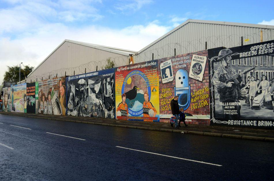 Belfast's trials and tribulations find expression in walls. A Peace Wall more than 20 feet high separates the Nationalists and the Unionists today.