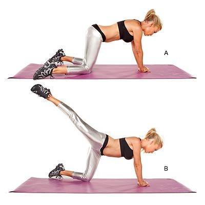 """<p>Targets shoulders, chest, sides, core, glutes, inner thighs and hamstrings</p> <p>Start on all fours, with hands placed right over left directly below chest, knees slightly wider than hip-width apart and feet pointing out (A). Pull abs in, lift right leg and extend it out diagonally from body (B). Return to start. Do 30 to 40 reps.</p> <p><b>Watch the video: </b><a href=""""https://www.health.com/health/video/0,,20768136,00.html""""><b>Single-Leg Kick</b></a></p>"""