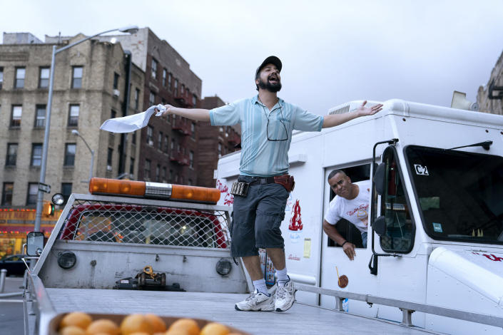 Lin-Manuel Miranda, left, and Chris Jackson in a scene from