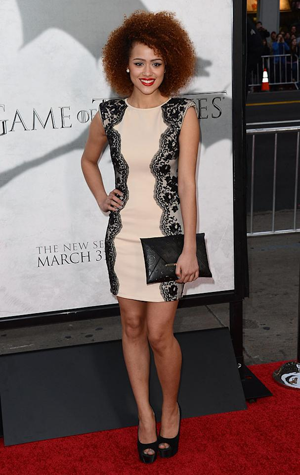 "Nathalie Emmanuel arrives at the premiere of HBO's ""Game of Thrones"" Season 3 at TCL Chinese Theatre on March 18, 2013 in Hollywood, California."