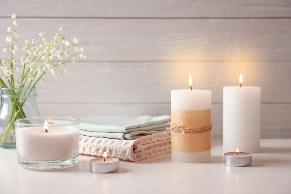 candles and decorative towels