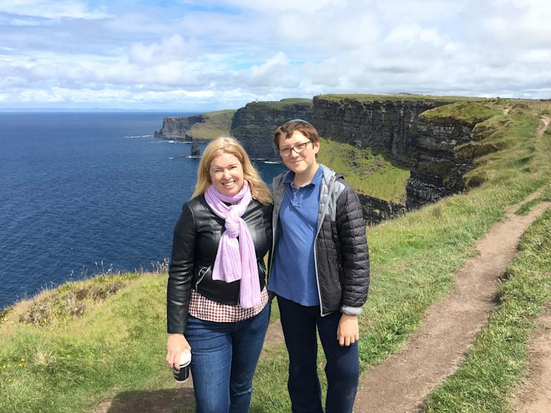 The author and her smartphone-less son, Ben, 14, on vacation last summer in Ireland.