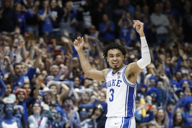 FILE - In this March 7, 2020, file photo, Duke guard Tre Jones (3) reacts during the second half of an NCAA college basketball game against North Carolina in Durham, N.C. Tre Jones was selected to the Associated Press All-ACC team selected Tuesday, March 10, 2020. (AP Photo/Gerry Broome, File)