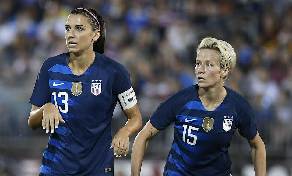 Alex Morgan (13) and Megan Rapinoe are two players who figure to receive bonuses from LUNA Bar for making the U.S. women's World Cup roster. (Associated Press)
