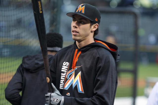 "The Marlins sent <a class=""link rapid-noclick-resp"" href=""/mlb/players/9320/"" data-ylk=""slk:Christian Yelich"">Christian Yelich</a> packing on Thursday in a cost-cutting move. (AP)"