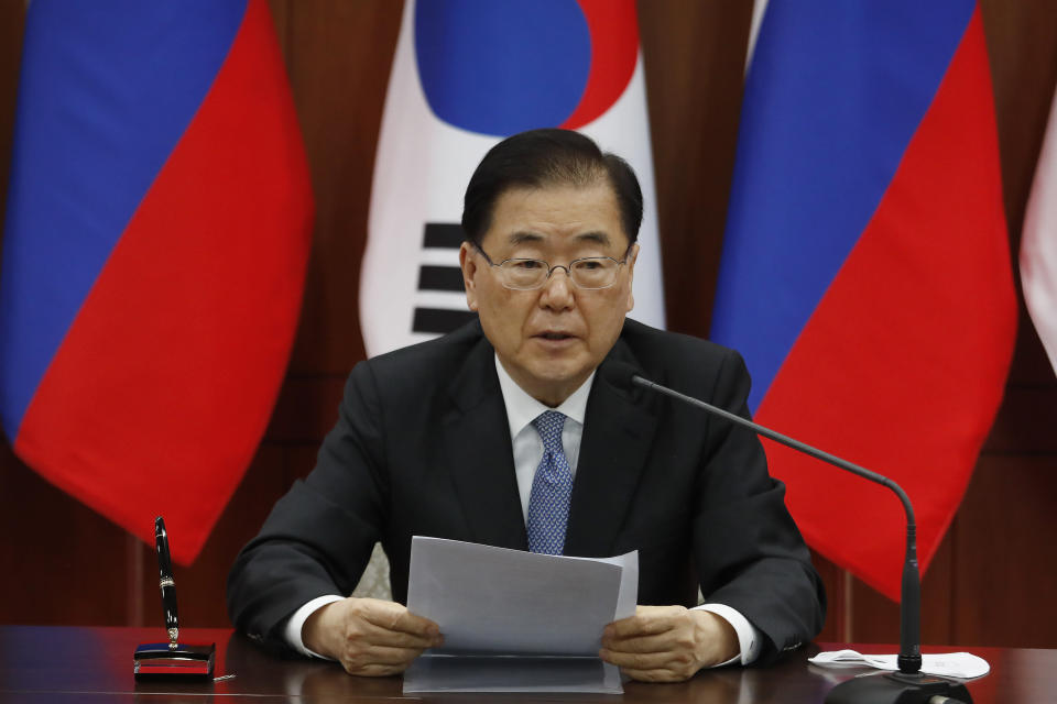 South Korean Foreign Minister Chung Eui-yong speaks during a joint announcement with Russian Foreign Minister Sergey Lavrov at the Foreign Ministry in Seoul, South Korea, Thursday, March 25, 2021. (AP Photo/Ahn Young-joon, Pool)