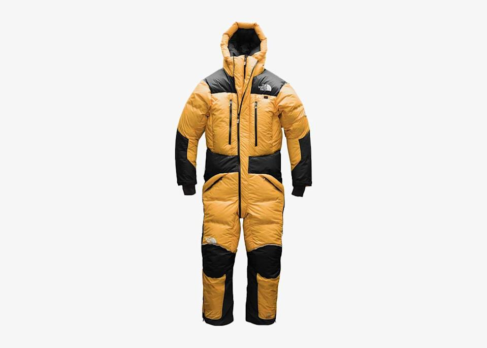 """The warmest suit on the list, its design is guaranteed to keep the cold out, whether you're heli-skiing in <a href=""""https://www.cntraveler.com/story/to-best-experience-alaskas-burgeoning-local-food-movement-go-in-winter?mbid=synd_yahoo_rss"""" rel=""""nofollow noopener"""" target=""""_blank"""" data-ylk=""""slk:Alaska"""" class=""""link rapid-noclick-resp"""">Alaska</a> or enjoying an <a href=""""https://www.cntraveler.com/story/italian-cocktails?mbid=synd_yahoo_rss"""" rel=""""nofollow noopener"""" target=""""_blank"""" data-ylk=""""slk:Aperol spritz"""" class=""""link rapid-noclick-resp"""">Aperol spritz</a> with friends al fresco. Windproof, waterproof, and lined with down, it's your barrier against the winter elements—be it a blast of cold wind on a slow chairlift or a less glamorous spray of muddy slush from a passing car. Plus, when the next <a href=""""https://weather.com/science/weather-explainers/news/2019-03-13-what-is-bomb-cyclone"""" rel=""""nofollow noopener"""" target=""""_blank"""" data-ylk=""""slk:bombogenesis"""" class=""""link rapid-noclick-resp"""">bombogenesis</a> hits the northeast, you'll be prepared. $1000, The North Face. <a href=""""https://www.thenorthface.com/shop/mens-himalayan-suit-2"""" rel=""""nofollow noopener"""" target=""""_blank"""" data-ylk=""""slk:Get it now!"""" class=""""link rapid-noclick-resp"""">Get it now!</a>"""