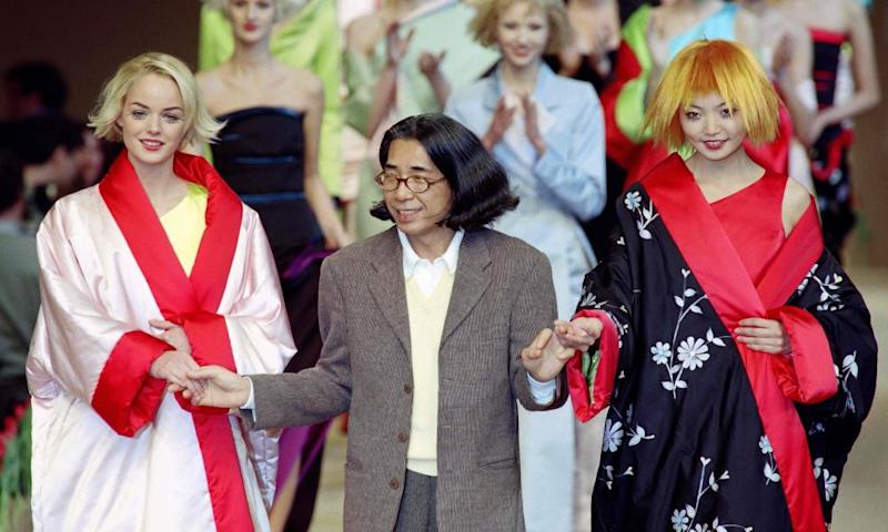 Kenzo Takada, with models in Paris in 1996, presenting his ready-to-wear collection.
