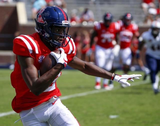 "After catching 91 passes in two seasons at Ole Miss, <a class=""link rapid-noclick-resp"" href=""/ncaaf/players/257076/"" data-ylk=""slk:Van Jefferson"">Van Jefferson</a> is transferring to Florida. (Photo by Butch Dill/Getty Images)"