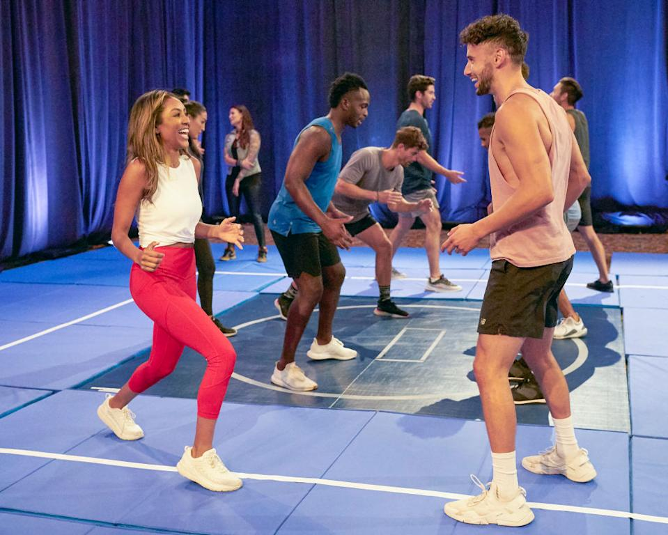 """Tayshia Adams wore Alo Yoga and Lululemon during the Nov. 17 episode of """"The Bachelorette."""" (Craig Sjodin via Getty Images)"""