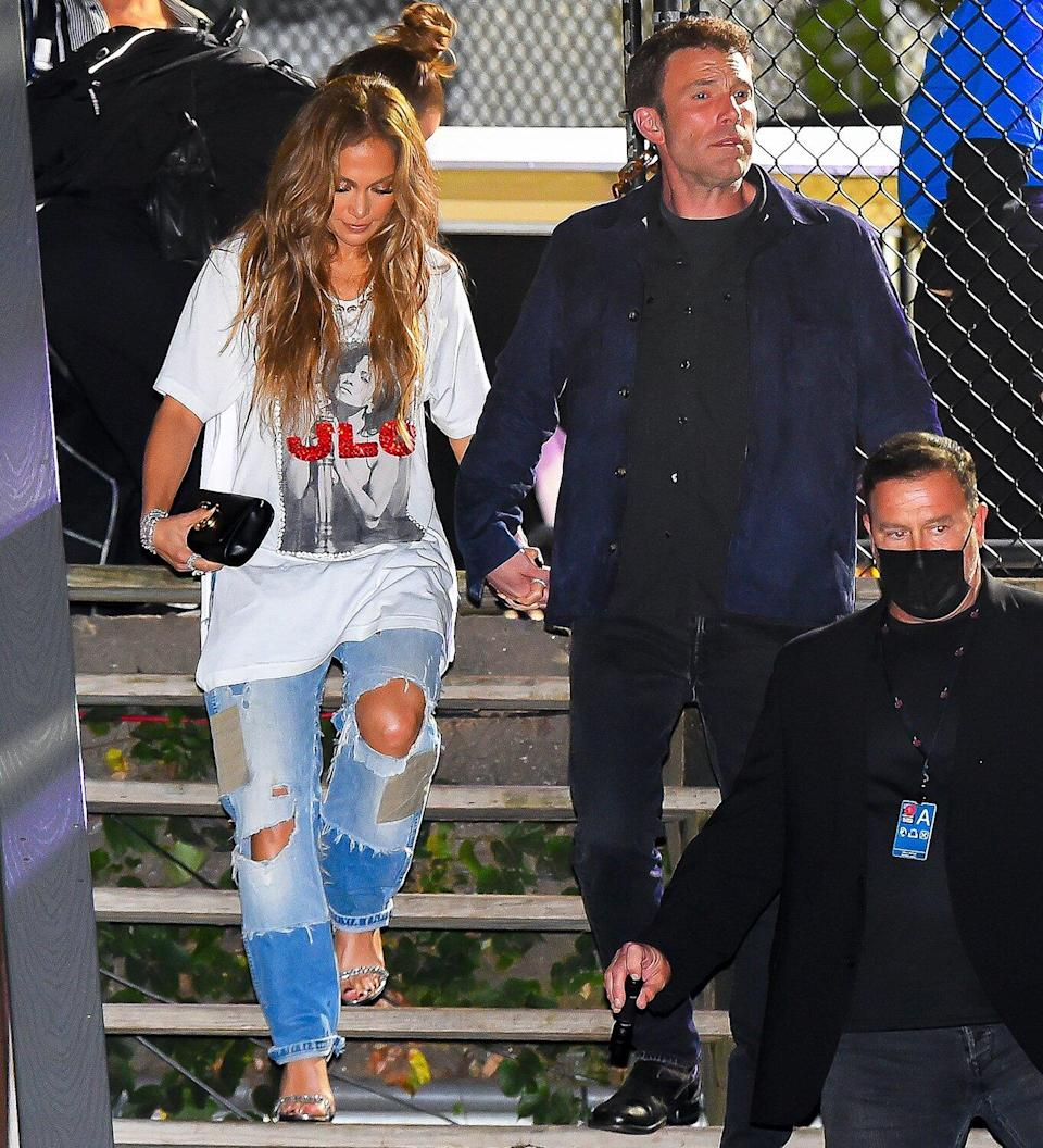 Jennifer Lopez and Ben Affleck are seen leaving Global Citizen Live at Central Park on September 25, 2021 in New York City.
