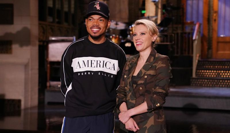 """Chance the Rapper and Kate McKinnon on """"Saturday Night Live"""" on NBC."""
