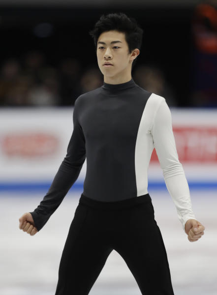 U.S. Nathan Chen performs during mens's short program at the Figure Skating World Championships in Assago, near Milan, Thursday, March 22, 2018. (AP Photo/Luca Bruno)