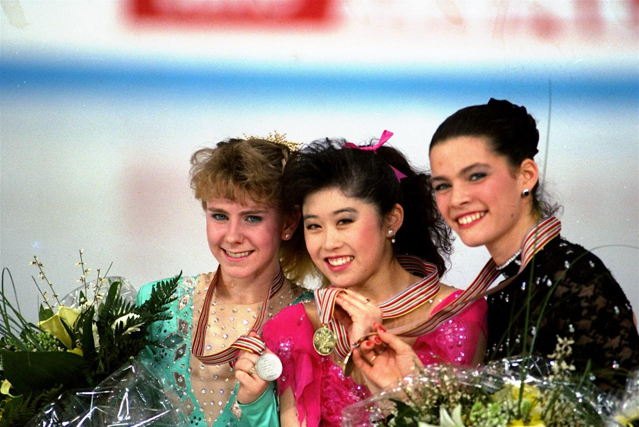<p>Just a few months later, Harding (silver), Kristi Yamaguchi (gold), and Nancy Kerrigan (bronze) made up the only national team ever to sweep the ladies' podium at a World Championships. Yamaguchi would go on to win the gold at the 1992 Albertville Olympics, where Kerrigan won bronze and Harding finished just off the podium in 4th. </p>