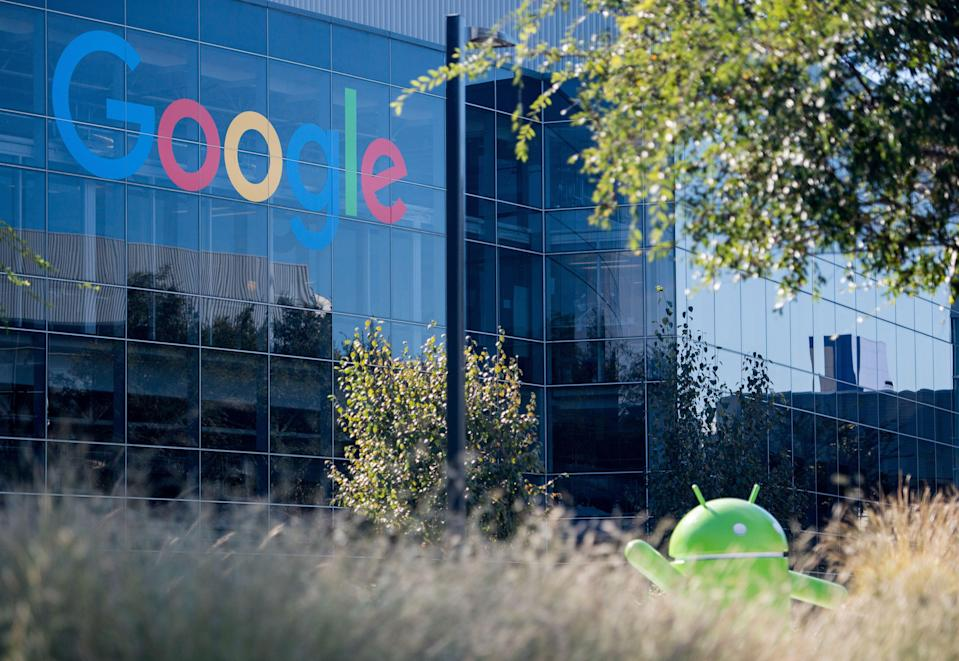 <p>A Google logo and Android statue are seen at the Googleplex in Menlo Park, California </p> (AFP via Getty Images)