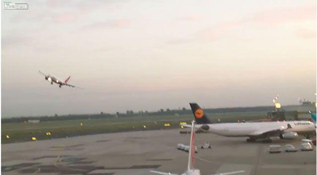 The plane appears to make a landing attempt at Dusseldorf Airport, before regaining speed and altitude, then making a sharp left to