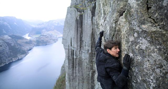 A literally cliffhanging moment for Tom Cruise in <em>Mission: Impossible — Fallout</em>. (Photo: Paramount /Courtesy Everett Collection)