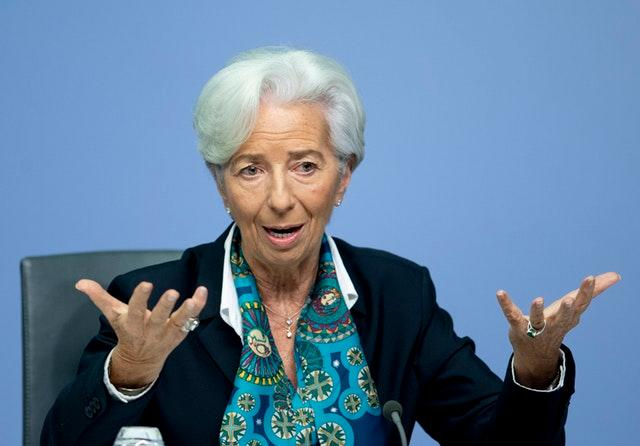 European Central Bank president Christine Lagarde during a press conference after a meeting of the governing council in Frankfurt, Germany