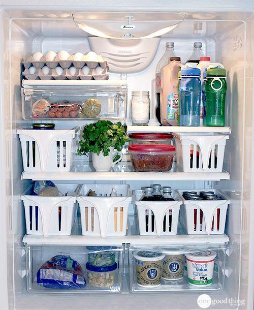 """<p>When items are organized into white containers with handles on the end (making them easy to pull out and hunt through) you can get a better look at all of the food in your fridge at once.</p><p><em><a href=""""http://www.onegoodthingbyjillee.com/2012/04/how-to-clean-and-organize-your-refrigerator.html"""" rel=""""nofollow noopener"""" target=""""_blank"""" data-ylk=""""slk:See more at One Good Thing By Jillee »"""" class=""""link rapid-noclick-resp"""">See more at One Good Thing By Jillee »</a></em></p><p><strong>What you'll need: </strong><span class=""""redactor-invisible-space"""">bins, $10, <a href=""""https://www.amazon.com/InterDesign-Kitchen-Pantry-Storage-Organizer/dp/B002BRXYQW/?tag=syn-yahoo-20&ascsubtag=%5Bartid%7C2139.g.36060899%5Bsrc%7Cyahoo-us"""" rel=""""nofollow noopener"""" target=""""_blank"""" data-ylk=""""slk:amazon.com"""" class=""""link rapid-noclick-resp"""">amazon.com</a></span><br></p>"""