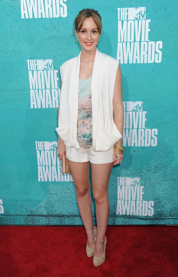 Leighton Meester arrives at the 2012 MTV Movie Awards.