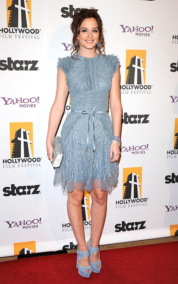 "Putting her best foot forward at the Hollywood Movie Awards -- in a pair of suede Elie Saab platforms -- ""Gossip Girl"" cutie Leighton Meester stole the spotlight with her sparkling Elie Saab Spring 2011 frock, sexy tresses, and silver Jimmy Choo Candy clutch. Jon Kopaloff/<a href=""http://www.filmmagic.com/"" target=""new"">FilmMagic.com</a> - October 25, 2010"