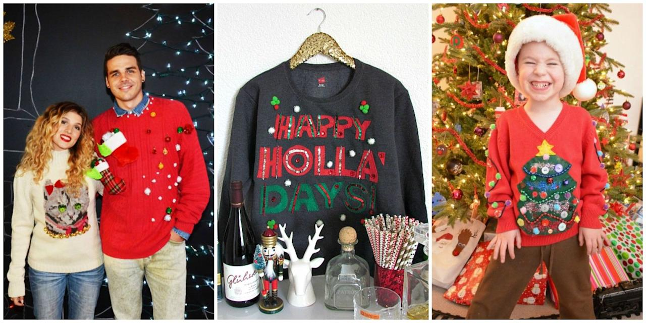 These DIY Ugly Christmas Sweater Ideas Will Knock Everyone\'s Winter ...