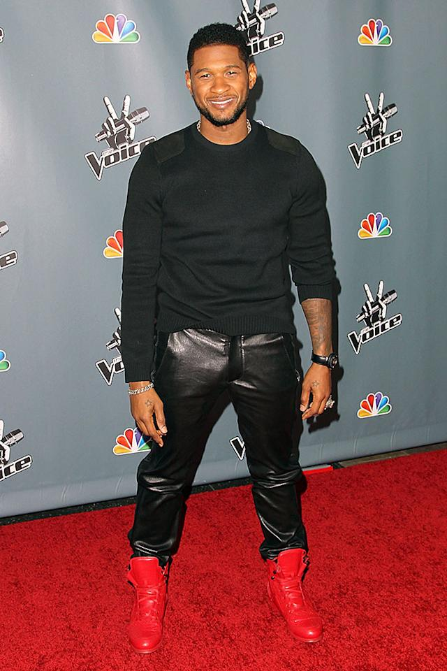"Nope, Kanye West isn't the only man in Hollywood with a penchant for hideous leather pants. ""Voice"" mentor Usher is also fond of the cheesy look, along with eyesore-inducing, cherry-red high tops. Surprisingly, it looks like Shakira won't be this season's worst-dressed coach. (3/20/2013)"