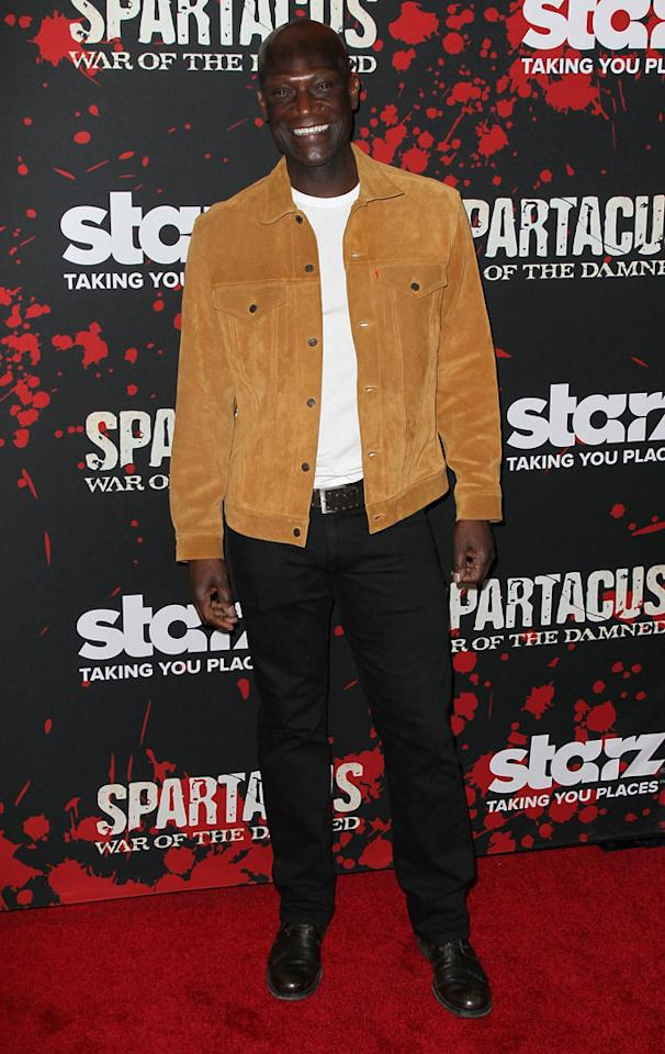 "Peter Mensah attends the premiere of Starz's ""Spartacus: War of the Damned"" at Regal Cinemas L.A. Live on January 22, 2013 in Los Angeles, California."