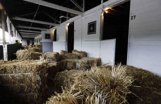 Training stables are prepared for Steve Asmussen Racing Stable at Churchill Downs, Thursday, May 7, 2020, in Louisville, Ky. (AP Photo/Darron Cummings)