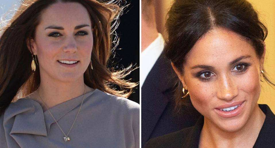 Princess Beatrice engagement ring: The Duchess of Cambridge, left, wearing a necklace by Asprey in collaboration with Shaun Leane in 2014, and the Duchess of Sussex wearing Shaun Leane earrings in 2018. [Photo: Getty]