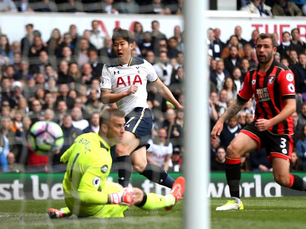 Son got Tottenham's second of the game at the near post (Getty)