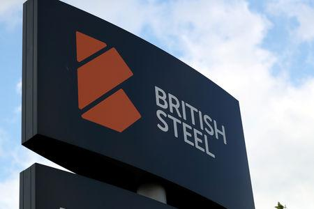 FILE PHOTO: A British Steel works sign is seen in Scunthorpe, northern England, Britain, May 21, 2019. REUTERS/Scott Heppell