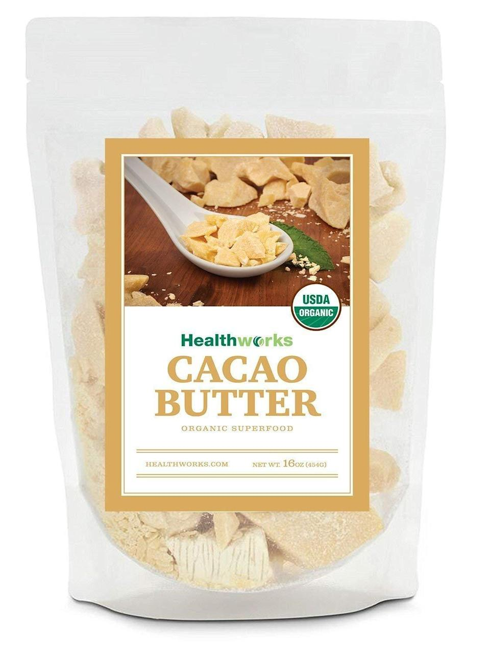 """<p>This <a rel=""""nofollow noopener"""" href=""""https://www.popsugar.com/buy/Healthworks-Cacao-Butter-Organic-349650?p_name=Healthworks%20Cacao%20Butter%20Organic&retailer=amazon.com&price=12&evar1=fit%3Auk&evar9=45059489&evar98=https%3A%2F%2Fwww.popsugar.com%2Ffitness%2Fphoto-gallery%2F45059489%2Fimage%2F45059640%2FHealthworks-Cacao-Butter-Organic&prop13=desktop&pdata=1"""" target=""""_blank"""" data-ylk=""""slk:Healthworks Cacao Butter Organic"""" class=""""link rapid-noclick-resp"""">Healthworks Cacao Butter Organic</a> ($12, originally $15) is an unrefined sweet butter that is ideal for making your own creamer or chocolate. It has a delicious, sweet smell that you'll love mixing into meals.</p>"""