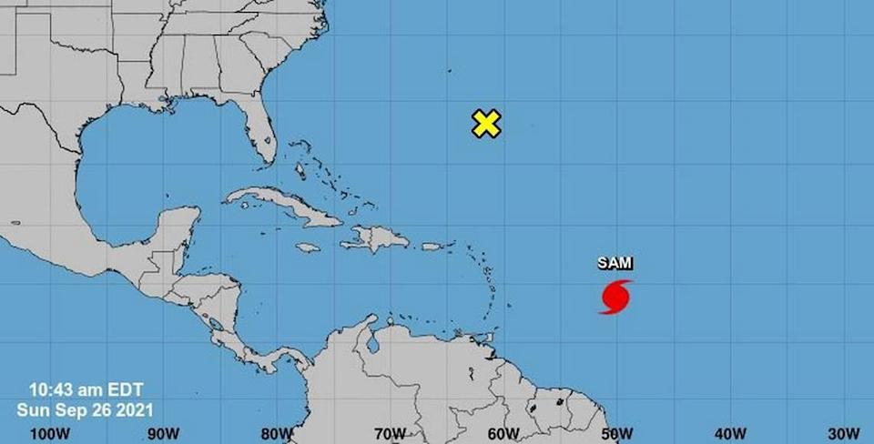 The two weather systems in the Atlantic Ocean as of 10:43 a.m. Sunday