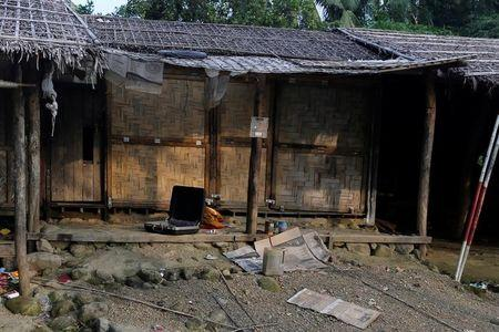 A Rohingya abandoned house is seen at U Shey Kya village outside Maungdaw, in Rakhine state