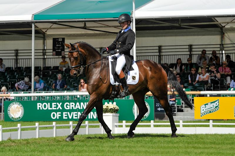 Simon Grieve during the dressage phase of the the Land Rover Burghley Horse Trials