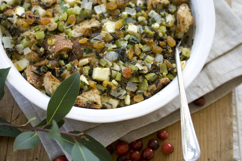 This Oct. 14, 2013 photo shows multigrain and wild rice stuffing with apples and herbs in Concord, N.H. (AP Photo/Matthew Mead)