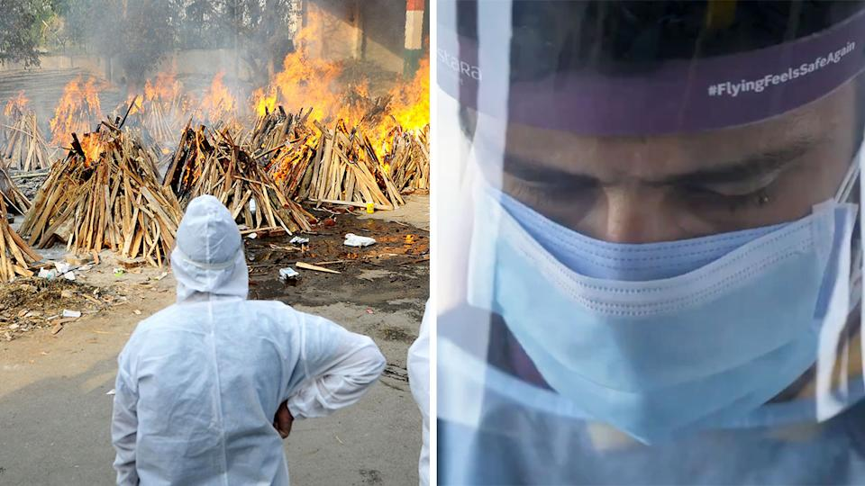 Cricketer wearing Covid-19 protective gear (pictured right) and bodies being cremated in India due to Covid-19. Pat Cummins said he bevlied the Indian Premier League should not be abandoned because it offers Indian fans a brief distraction from the horrors of Covid-19 (pictured left) ravaging the country. (Getty Images/Kolkata KnightRiders)