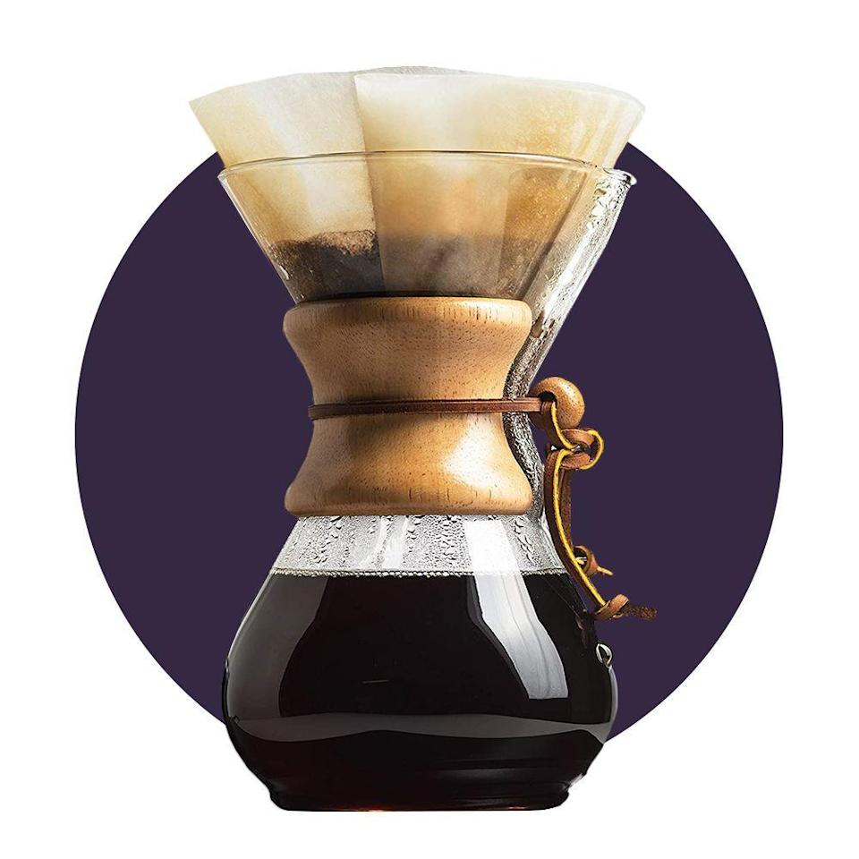 """<p><strong>Chemex</strong></p><p>amazon.com</p><p><strong>$45.49</strong></p><p><a href=""""https://www.amazon.com/dp/B000I1WP7W?tag=syn-yahoo-20&ascsubtag=%5Bartid%7C2089.g.34449251%5Bsrc%7Cyahoo-us"""" rel=""""nofollow noopener"""" target=""""_blank"""" data-ylk=""""slk:Shop Now"""" class=""""link rapid-noclick-resp"""">Shop Now</a></p><p>Chemex coffee makers come in many different size configurations, from 3-cup carafes all the way up to 10. </p><p>Once you get your brewing process down, you'll look for any excuse to use your <a href=""""https://www.bestproducts.com/eats/gadgets-cookware/a32189577/chemex-pour-over-coffee-maker-review/"""" rel=""""nofollow noopener"""" target=""""_blank"""" data-ylk=""""slk:Chemex"""" class=""""link rapid-noclick-resp"""">Chemex</a> and fill your kitchen with all of those good coffee smells. Plus, this thing literally doubles as a piece of art.</p>"""