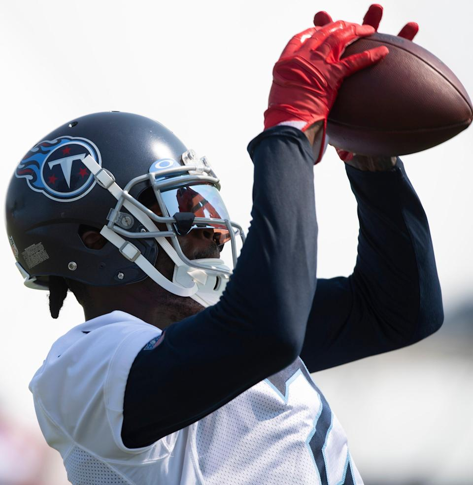Tennessee Titans wide receiver Julio Jones (2) pulls in a catch during a training camp practice at Saint Thomas Sports Park Wednesday, July 28, 2021 in Nashville, Tenn.